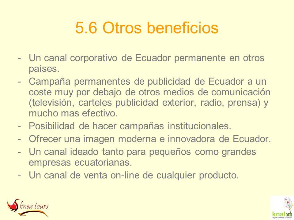 5.6 Otros beneficios -Un canal corporativo de Ecuador permanente en otros países. -Campaña permanentes de publicidad de Ecuador a un coste muy por deb