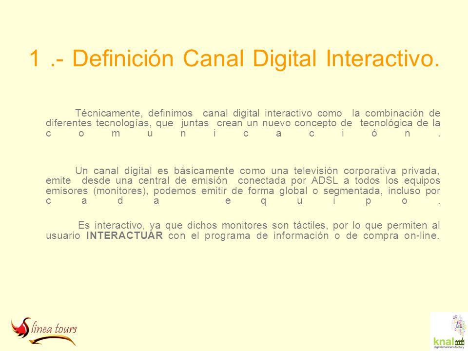 1.- Definición Canal Digital Interactivo. Técnicamente, definimos canal digital interactivo como la combinación de diferentes tecnologías, que juntas