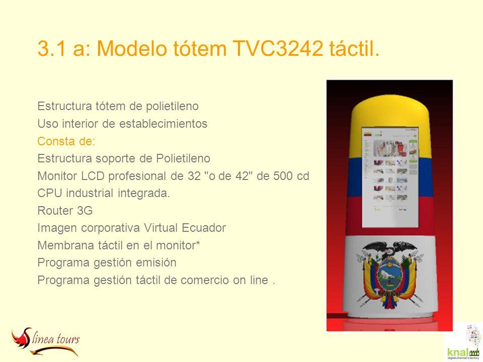 3.1 a: Modelo tótem TVC3242 táctil. Estructura tótem de polietileno Uso interior de establecimientos Consta de: Estructura soporte de Polietileno Moni