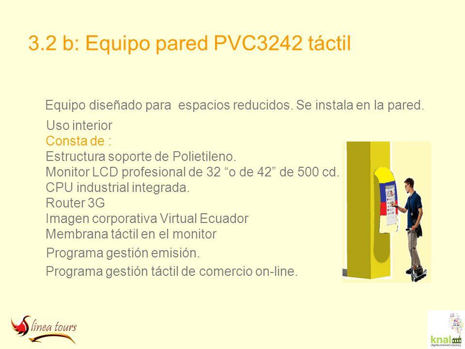 3.2 b: Equipo pared PVC3242 táctil Equipo diseñado para espacios reducidos. Se instala en la pared. Uso interior Consta de : Estructura soporte de Pol