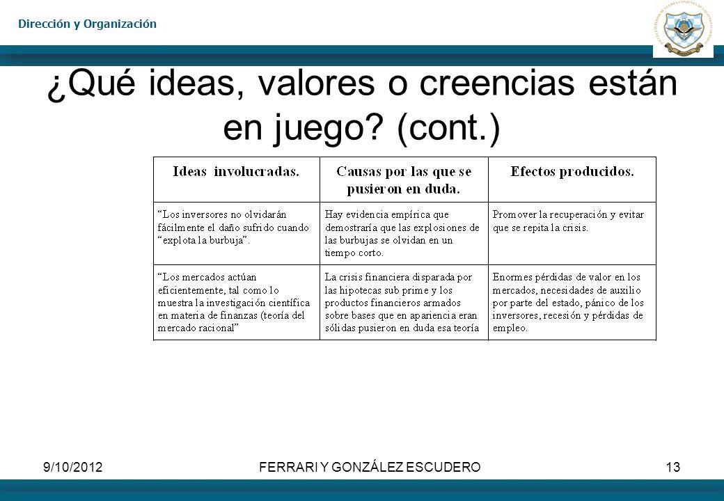 Dirección y Organización 9/10/2012FERRARI Y GONZÁLEZ ESCUDERO13 ¿Qué ideas, valores o creencias están en juego? (cont.)
