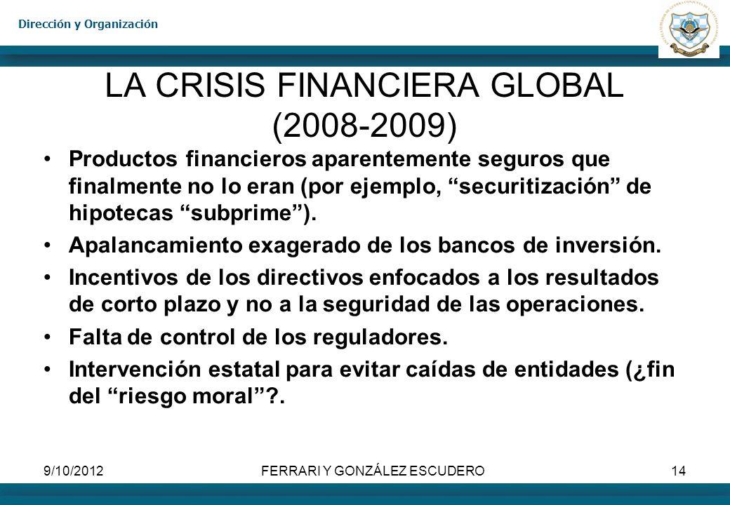 Dirección y Organización 9/10/2012FERRARI Y GONZÁLEZ ESCUDERO14 LA CRISIS FINANCIERA GLOBAL (2008-2009) Productos financieros aparentemente seguros qu