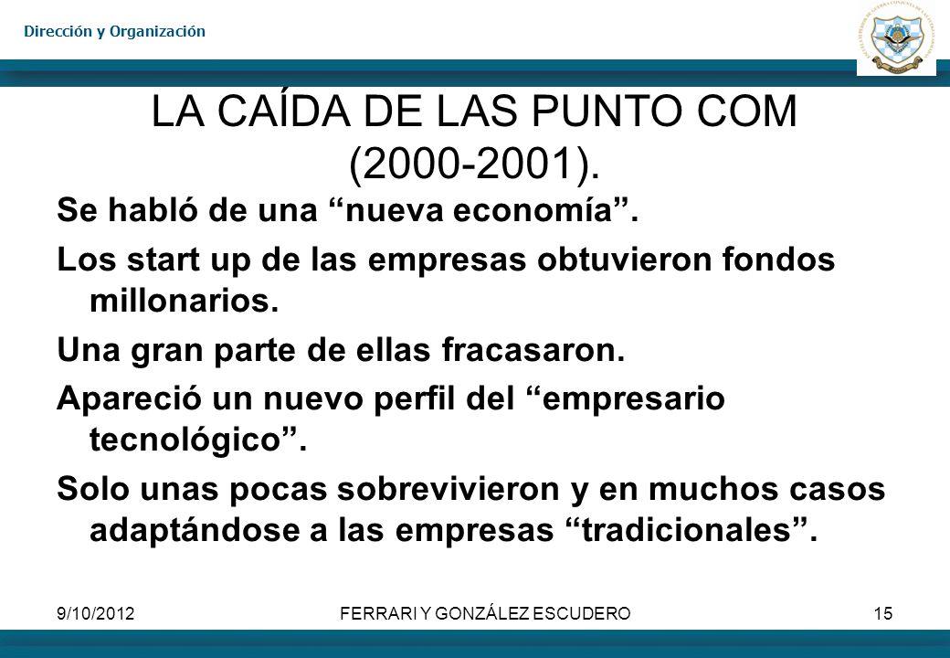 Dirección y Organización 9/10/2012FERRARI Y GONZÁLEZ ESCUDERO15 LA CAÍDA DE LAS PUNTO COM (2000-2001). Se habló de una nueva economía. Los start up de
