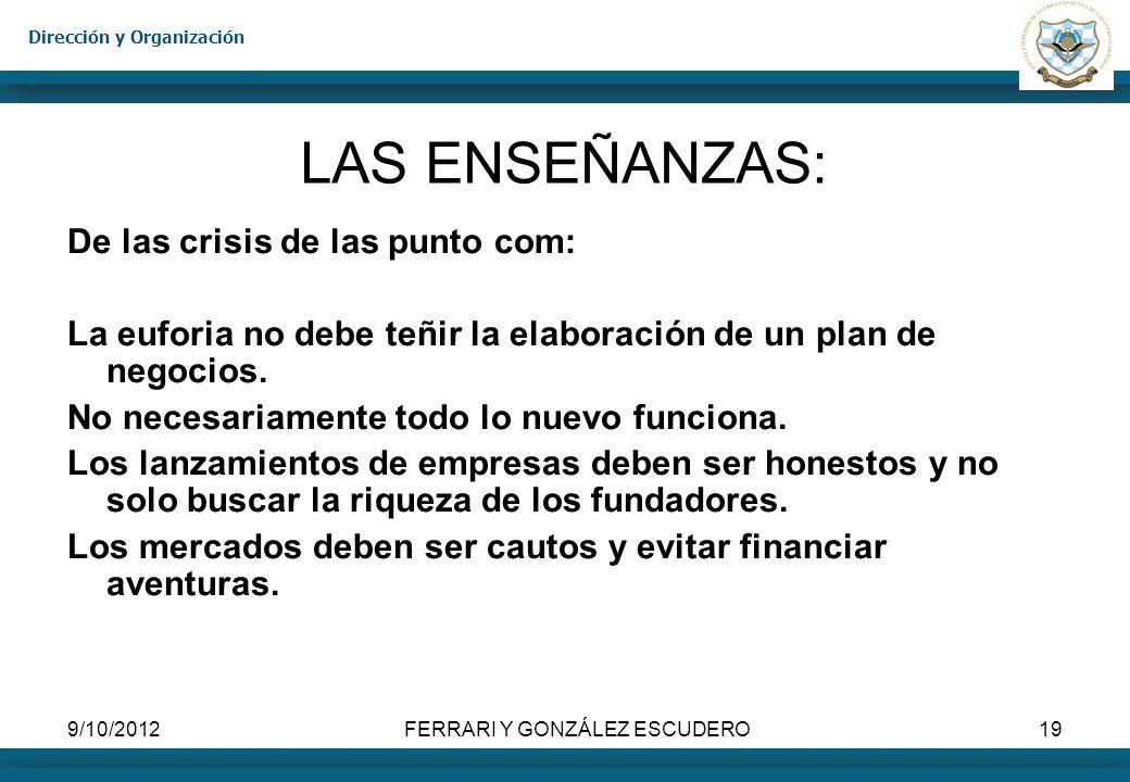 Dirección y Organización 9/10/2012FERRARI Y GONZÁLEZ ESCUDERO19 LAS ENSEÑANZAS: De las crisis de las punto com: La euforia no debe teñir la elaboració
