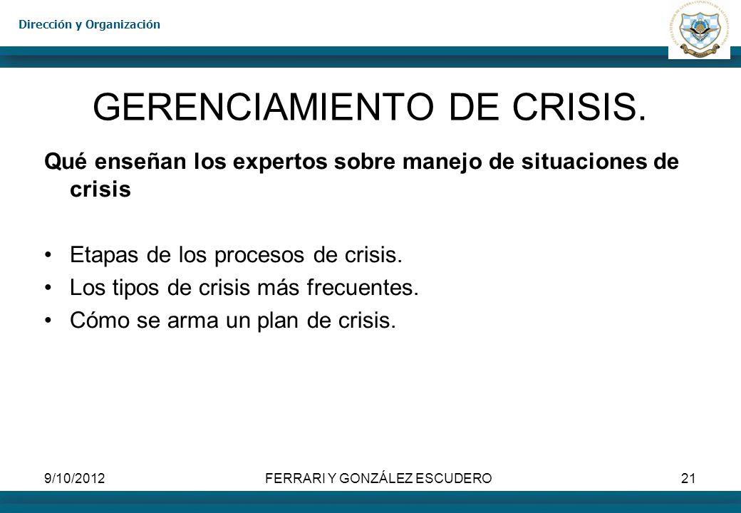 Dirección y Organización 9/10/2012FERRARI Y GONZÁLEZ ESCUDERO21 GERENCIAMIENTO DE CRISIS. Qué enseñan los expertos sobre manejo de situaciones de cris
