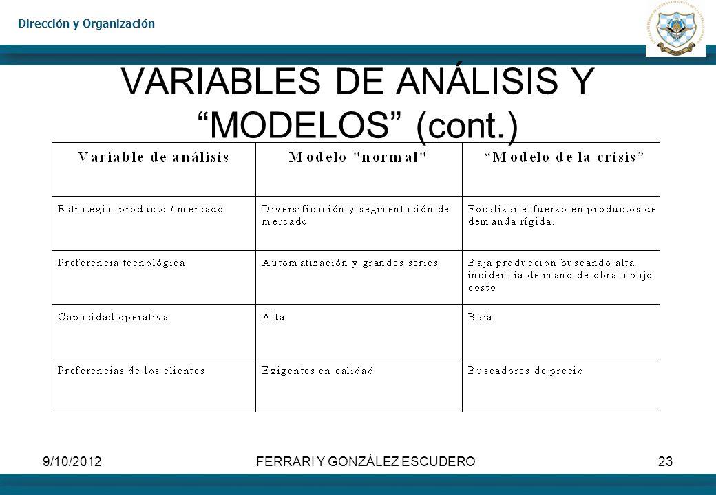 Dirección y Organización 9/10/2012FERRARI Y GONZÁLEZ ESCUDERO23 VARIABLES DE ANÁLISIS Y MODELOS (cont.)