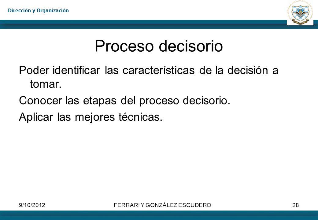 Dirección y Organización 9/10/2012FERRARI Y GONZÁLEZ ESCUDERO28 Proceso decisorio Poder identificar las características de la decisión a tomar. Conoce