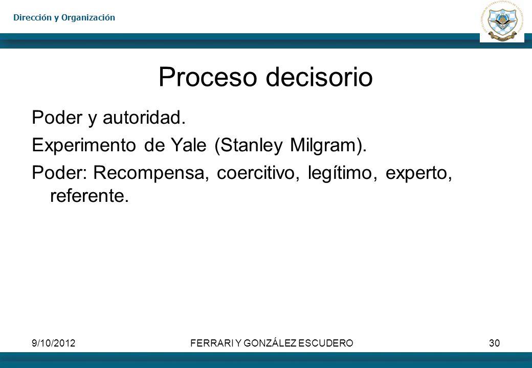 Dirección y Organización 9/10/2012FERRARI Y GONZÁLEZ ESCUDERO30 Proceso decisorio Poder y autoridad. Experimento de Yale (Stanley Milgram). Poder: Rec
