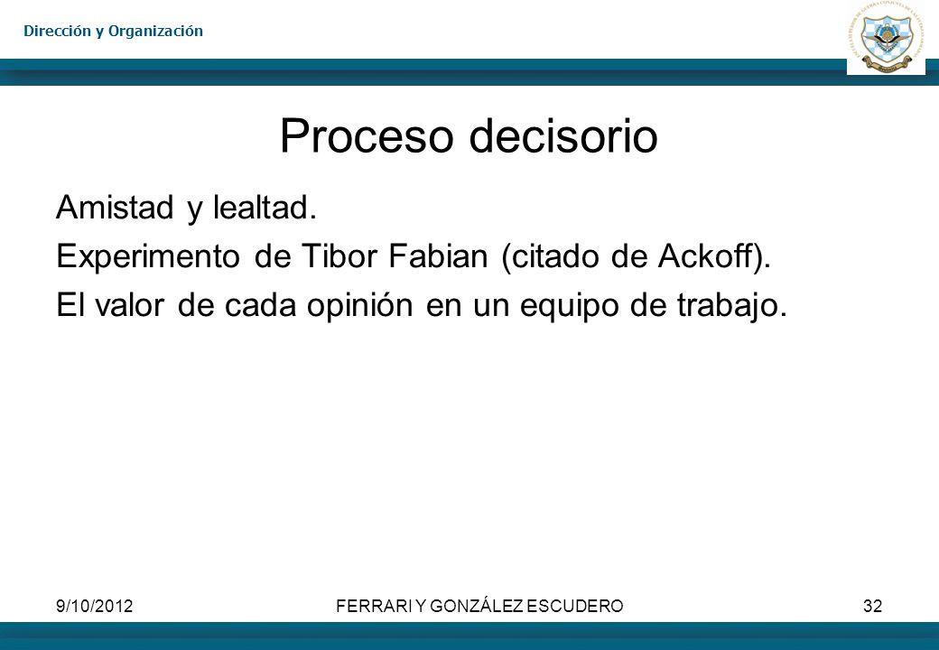 Dirección y Organización 9/10/2012FERRARI Y GONZÁLEZ ESCUDERO32 Proceso decisorio Amistad y lealtad. Experimento de Tibor Fabian (citado de Ackoff). E