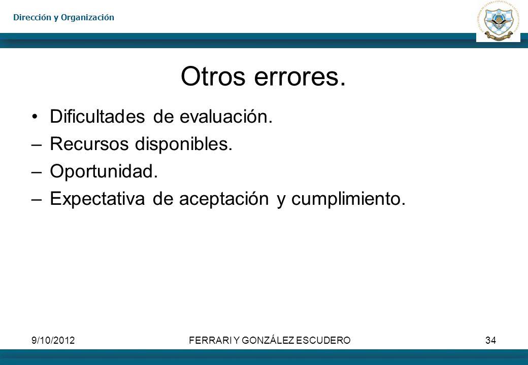 Dirección y Organización 9/10/2012FERRARI Y GONZÁLEZ ESCUDERO34 Otros errores. Dificultades de evaluación. –Recursos disponibles. –Oportunidad. –Expec