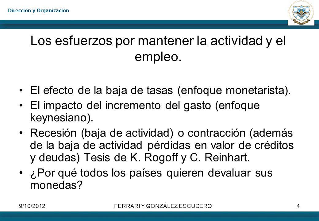 Dirección y Organización 9/10/2012FERRARI Y GONZÁLEZ ESCUDERO4 Los esfuerzos por mantener la actividad y el empleo. El efecto de la baja de tasas (enf