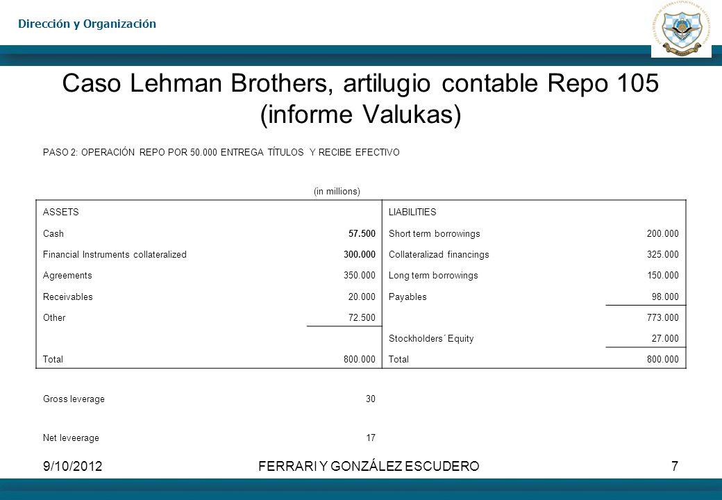 Dirección y Organización 9/10/2012FERRARI Y GONZÁLEZ ESCUDERO8 Caso Lehman Brothers, artilugio contable Repo 105 (informe Valukas) PASO 3: CANCELA DEUDAS CON EL EFECTIVO OBTENIDO.