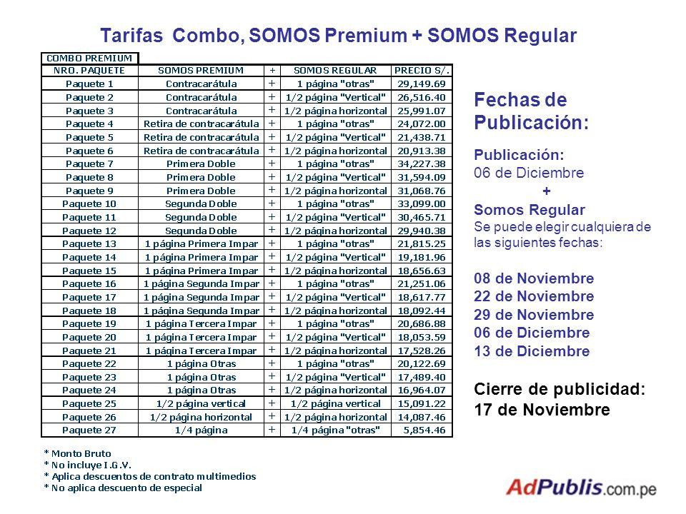 Tarifas Combo, SOMOS Premium + SOMOS Regular Fechas de Publicación: Publicación: 06 de Diciembre + Somos Regular Se puede elegir cualquiera de las sig