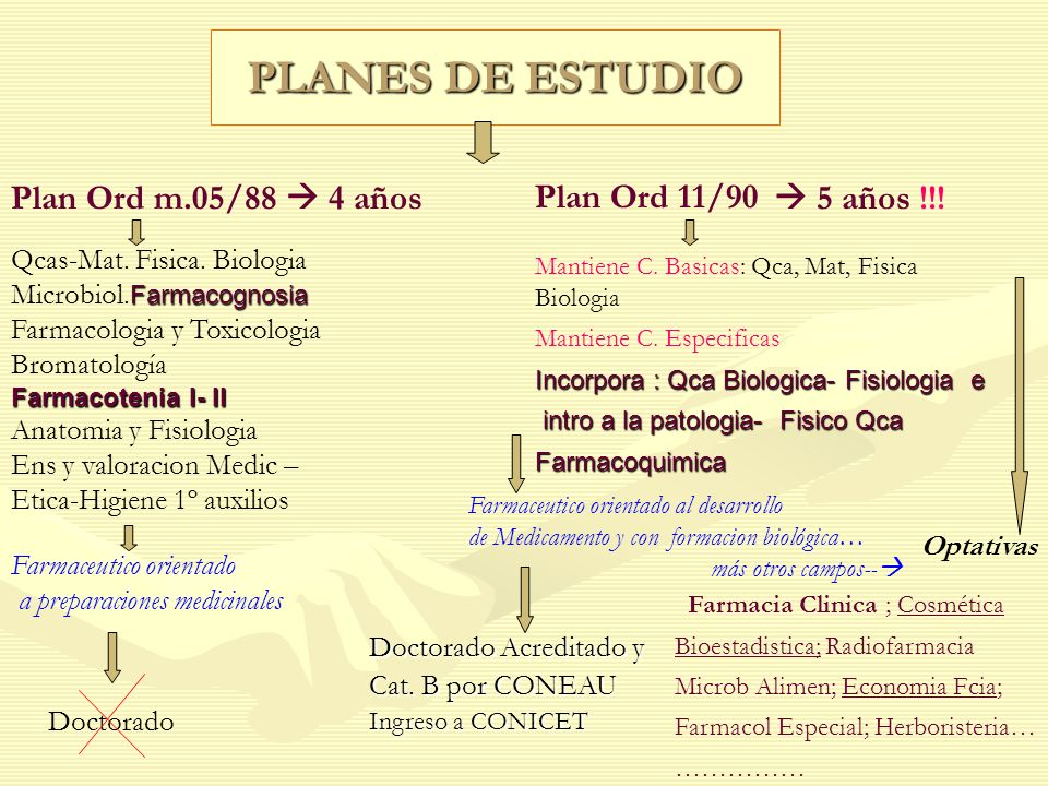 PLANES DE ESTUDIO Plan Ord m.05/88 4 años Qcas-Mat. Fisica. Biologia Farmacognosia Microbiol. Farmacognosia Farmacologia y Toxicologia Bromatología Fa
