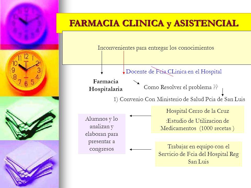 FARMACIA CLINICA y ASISTENCIAL Inconvenientes para entregar los conocimientos Farmacia Hospitalaria Como Resolver el problema ?? 1) Convenio Con Minis