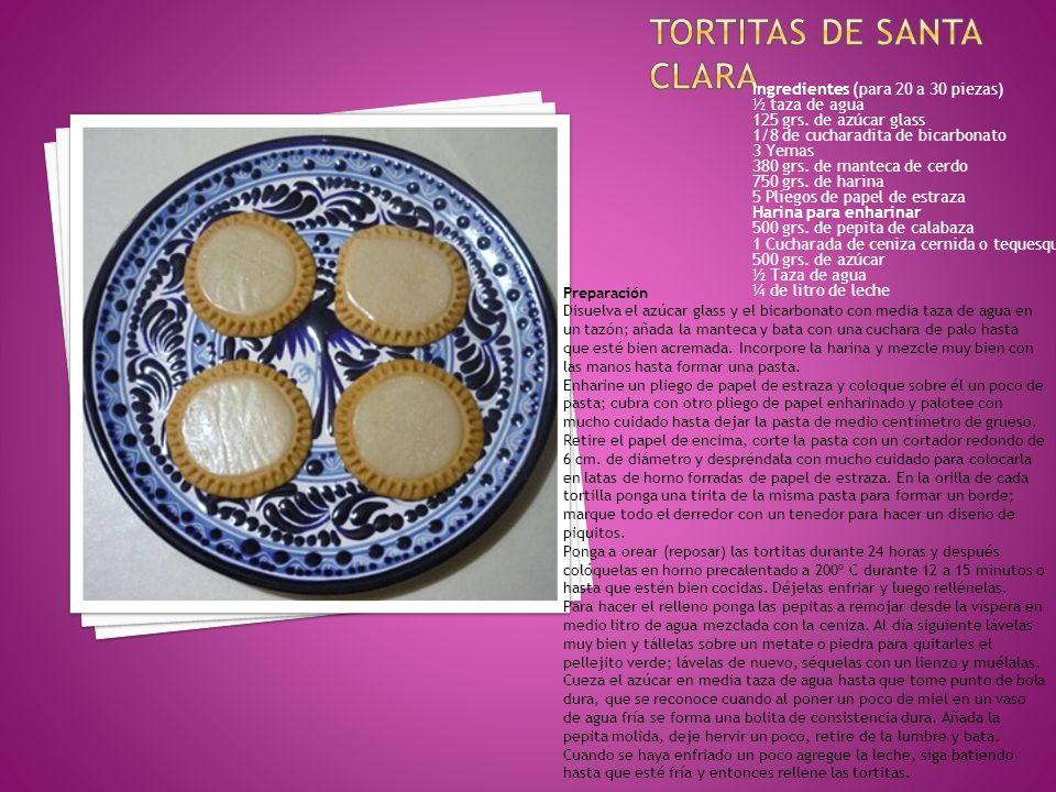 Ingredientes (para 20 a 30 piezas) ½ taza de agua 125 grs. de azúcar glass 1/8 de cucharadita de bicarbonato 3 Yemas 380 grs. de manteca de cerdo 750