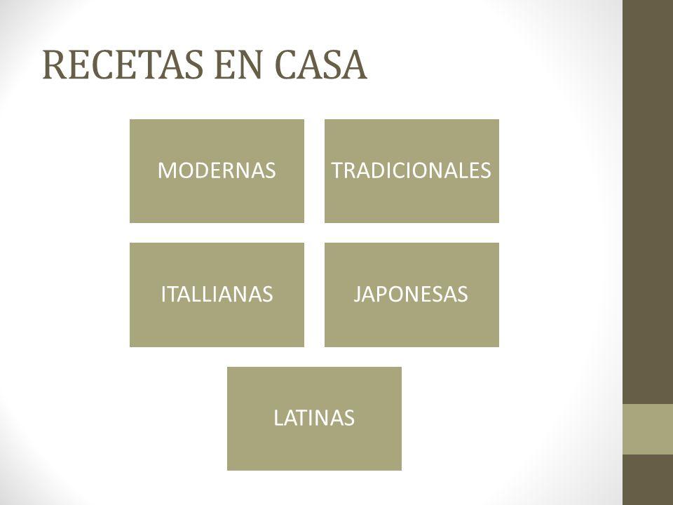 RECETAS EN CASA MODERNASTRADICIONALES ITALLIANASJAPONESAS LATINAS