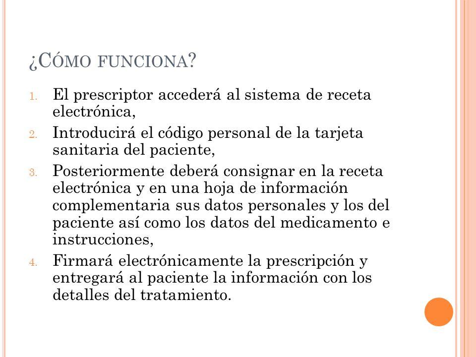 ¿C ÓMO FUNCIONA ? 1. El prescriptor accederá al sistema de receta electrónica, 2. Introducirá el código personal de la tarjeta sanitaria del paciente,