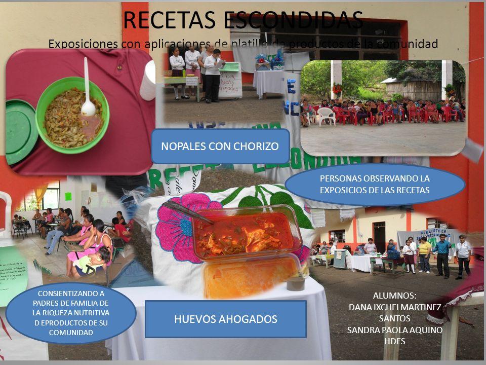 RECETAS ESCONDIDAS Exposiciones con aplicaciones de platillo de productos de la comunidad NOPALES CON CHORIZO HUEVOS AHOGADOS PERSONAS OBSERVANDO LA E