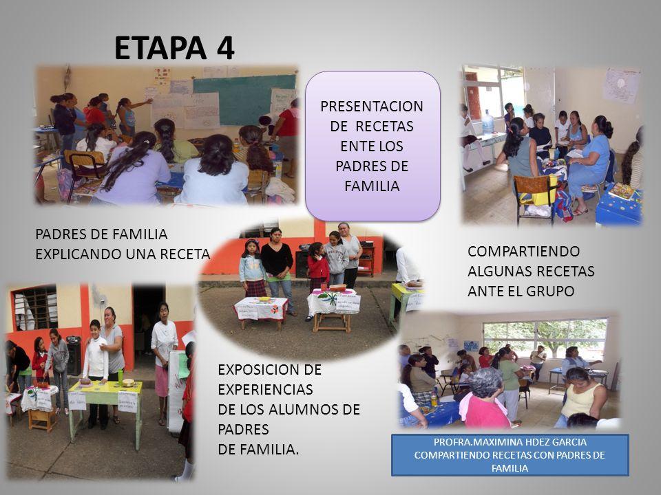 ETAPA 4 COMPARTE PRESENTACION DE RECETAS ENTE LOS PADRES DE FAMILIA COMPARTIENDO ALGUNAS RECETAS ANTE EL GRUPO EXPOSICION DE EXPERIENCIAS DE LOS ALUMN