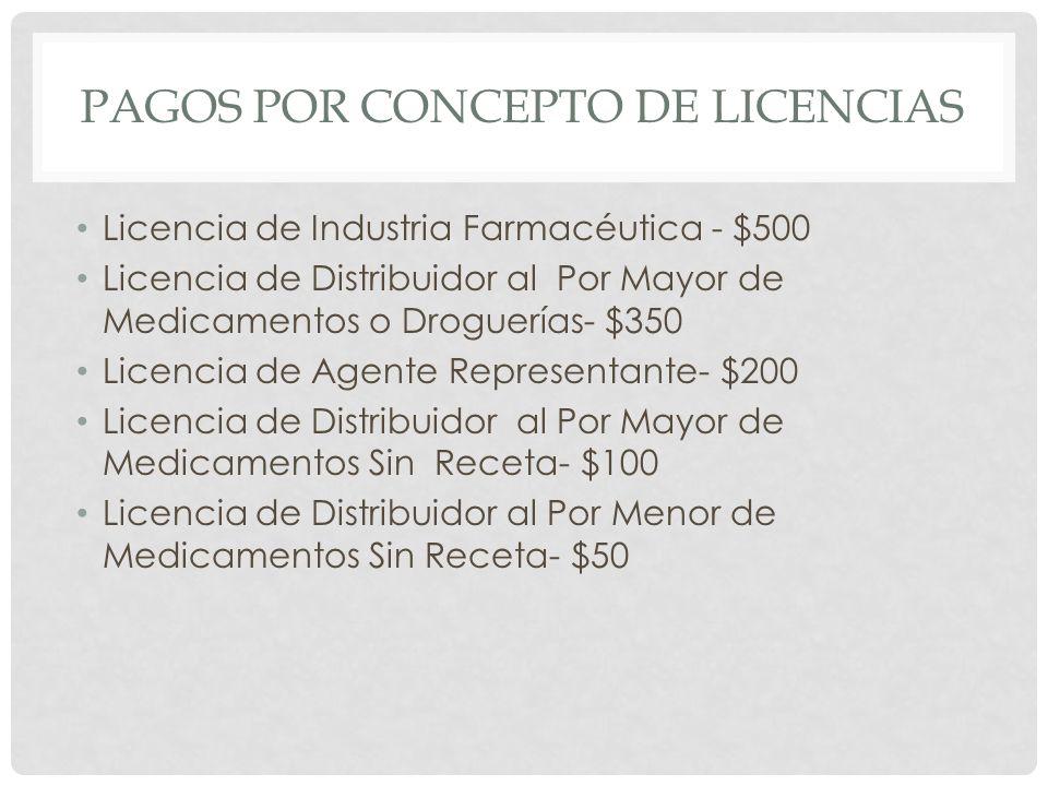 PAGOS POR CONCEPTO DE LICENCIAS Licencia de Industria Farmacéutica - $500 Licencia de Distribuidor al Por Mayor de Medicamentos o Droguerías- $350 Lic