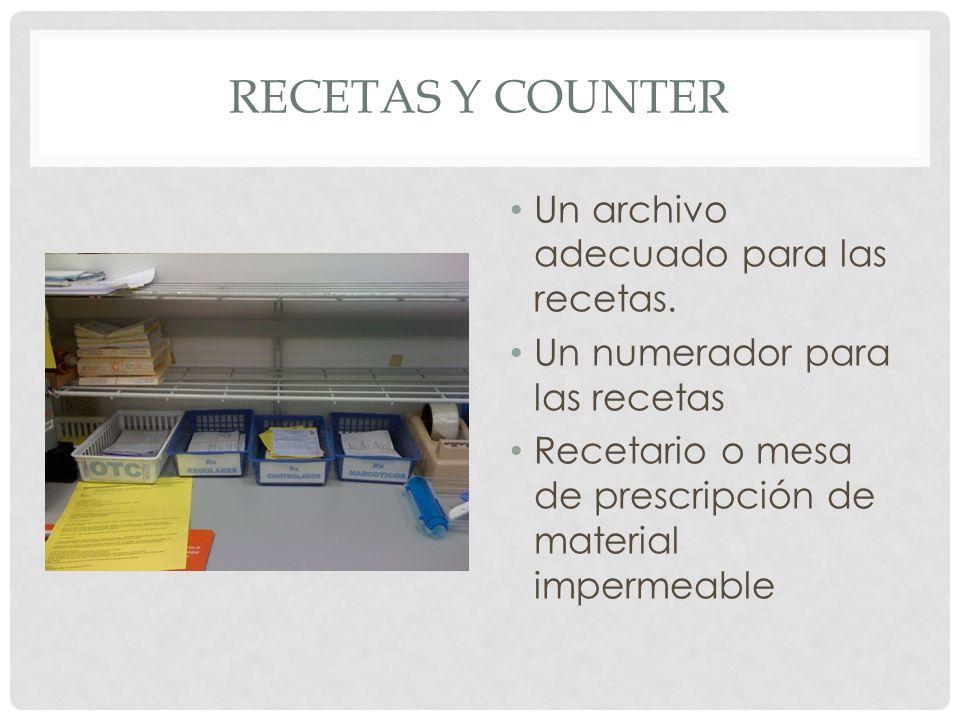 RECETAS Y COUNTER Un archivo adecuado para las recetas. Un numerador para las recetas Recetario o mesa de prescripción de material impermeable