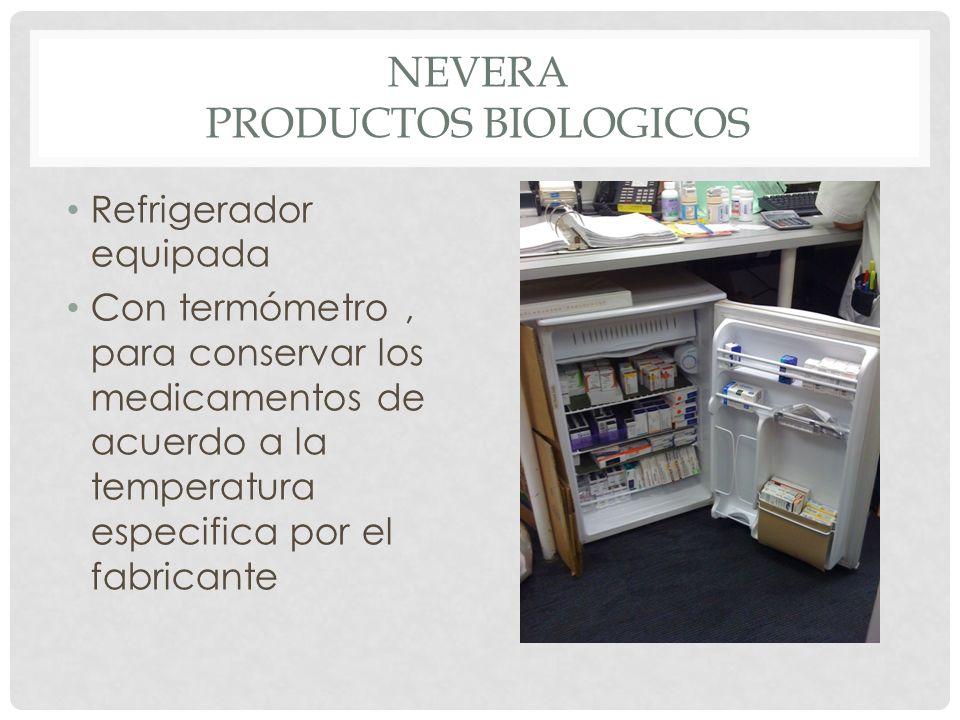 NEVERA PRODUCTOS BIOLOGICOS Refrigerador equipada Con termómetro, para conservar los medicamentos de acuerdo a la temperatura especifica por el fabric
