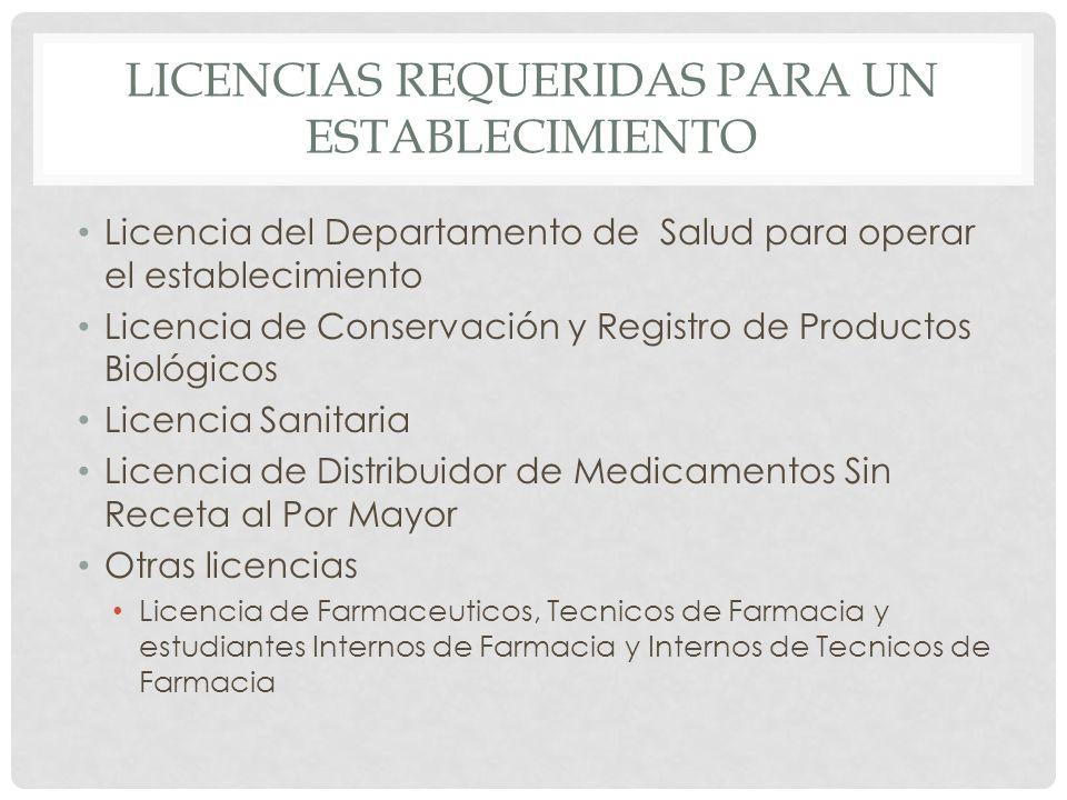 LICENCIAS REQUERIDAS PARA UN ESTABLECIMIENTO Licencia del Departamento de Salud para operar el establecimiento Licencia de Conservación y Registro de
