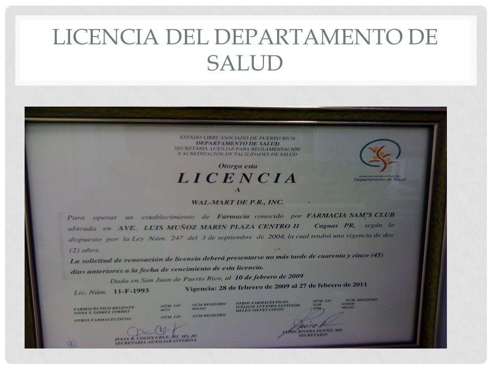 LICENCIA DEL DEPARTAMENTO DE SALUD
