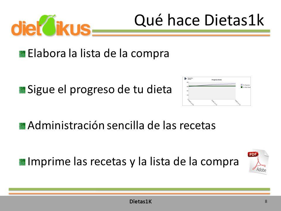 Qué hace Dietas1k Elabora la lista de la compra Sigue el progreso de tu dieta Administración sencilla de las recetas Imprime las recetas y la lista de la compra 8 Dietas1K