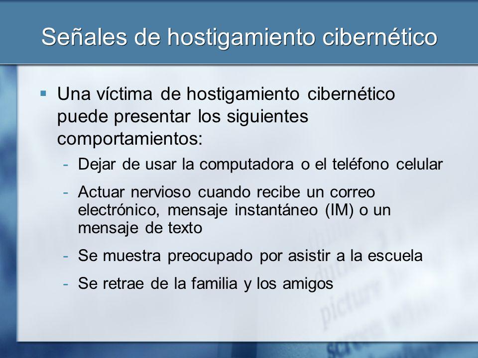 Qué hacer Los niños que son víctimas de hostigamiento cibernético -No deben responder -Deben guardar los mensajes -Deben bloquear/excluir al intimidador -Deben crear cuentas nuevas -DEBEN INFORMAR EL ASUNTO Si considera que su hijo se encuentra en peligro inmediato, comuníquese con la policía local