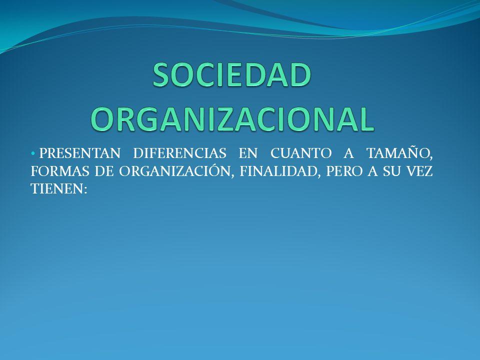 PRESENTAN DIFERENCIAS EN CUANTO A TAMAÑO, FORMAS DE ORGANIZACIÓN, FINALIDAD, PERO A SU VEZ TIENEN: