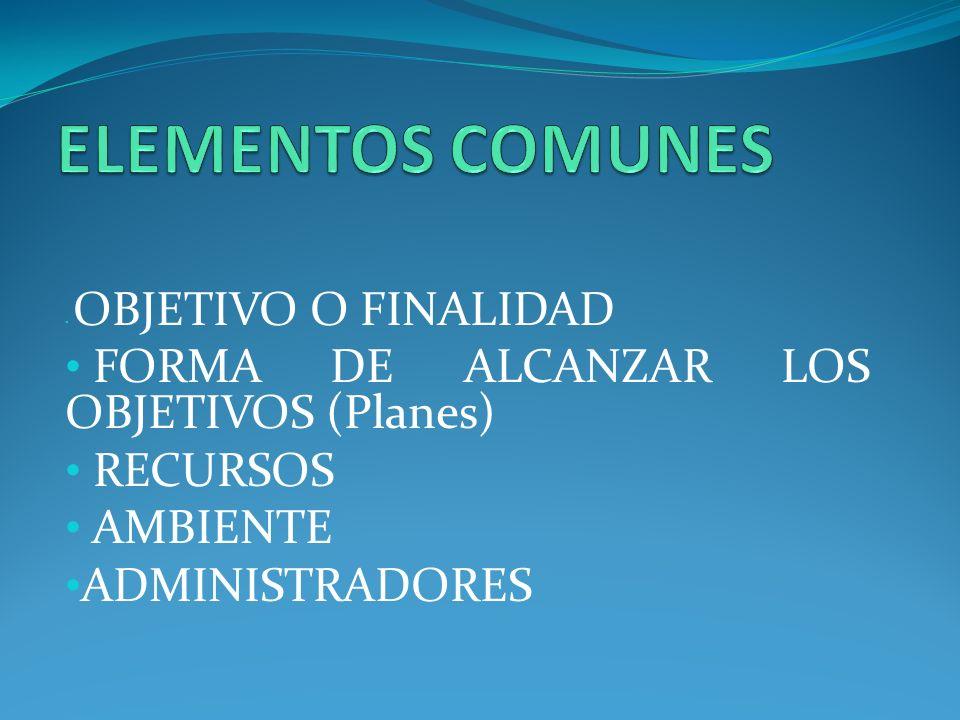 OBJETIVO O FINALIDAD FORMA DE ALCANZAR LOS OBJETIVOS (Planes) RECURSOS AMBIENTE ADMINISTRADORES