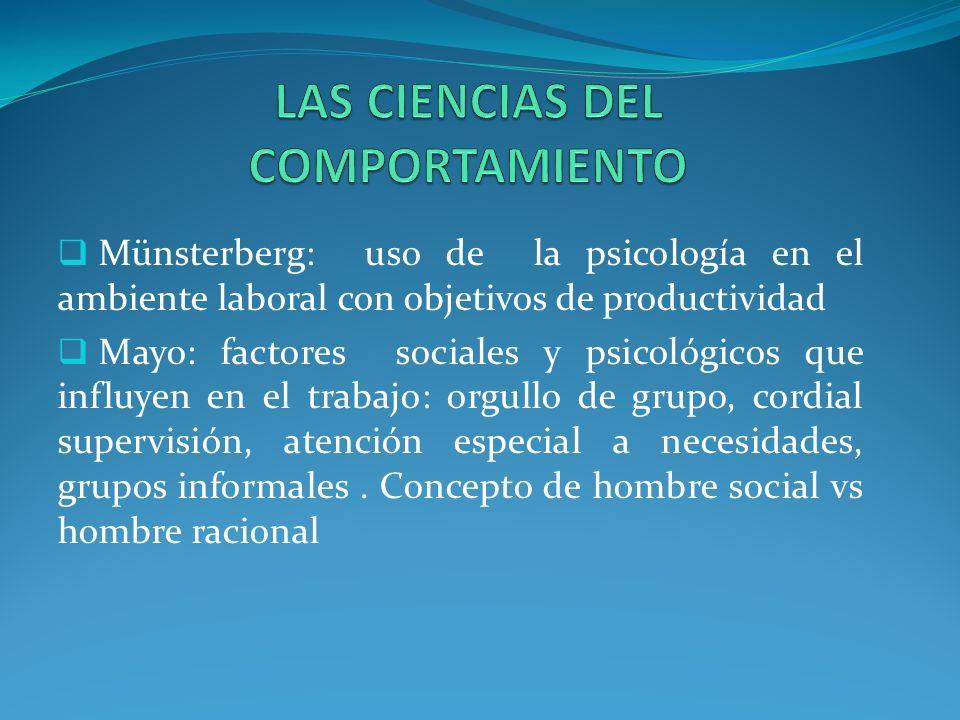 Münsterberg: uso de la psicología en el ambiente laboral con objetivos de productividad Mayo: factores sociales y psicológicos que influyen en el trabajo: orgullo de grupo, cordial supervisión, atención especial a necesidades, grupos informales.