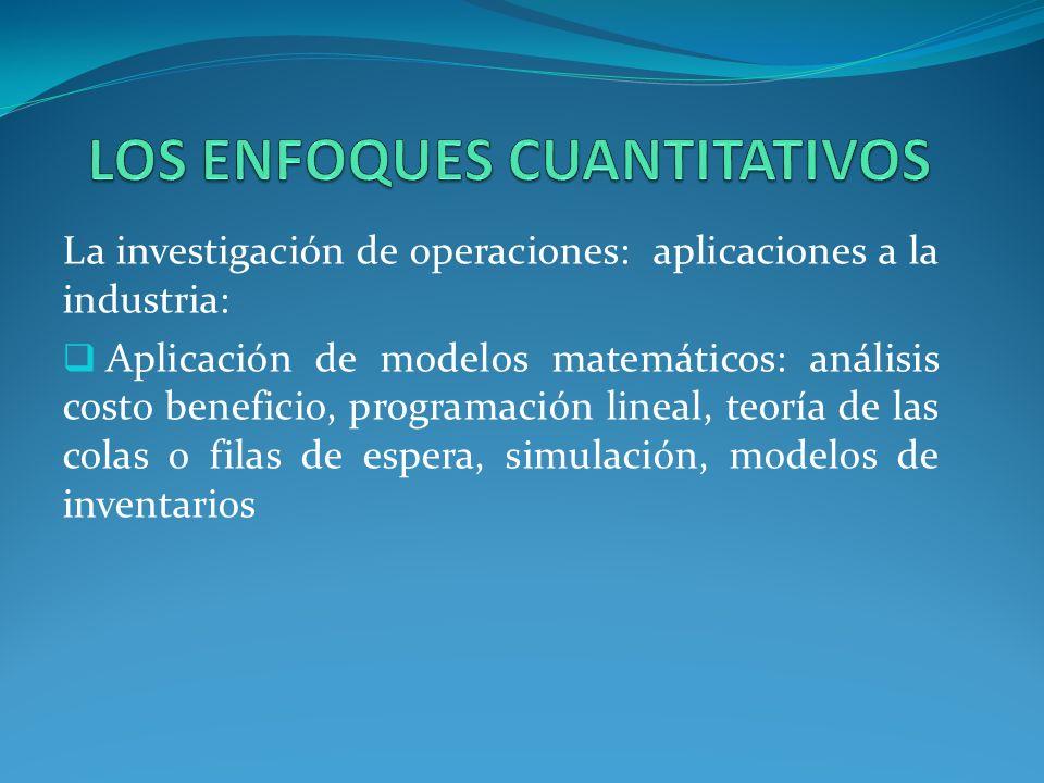 La investigación de operaciones: aplicaciones a la industria: Aplicación de modelos matemáticos: análisis costo beneficio, programación lineal, teoría de las colas o filas de espera, simulación, modelos de inventarios