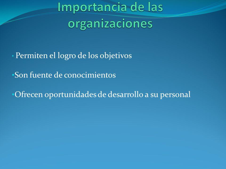 Permiten el logro de los objetivos Son fuente de conocimientos Ofrecen oportunidades de desarrollo a su personal