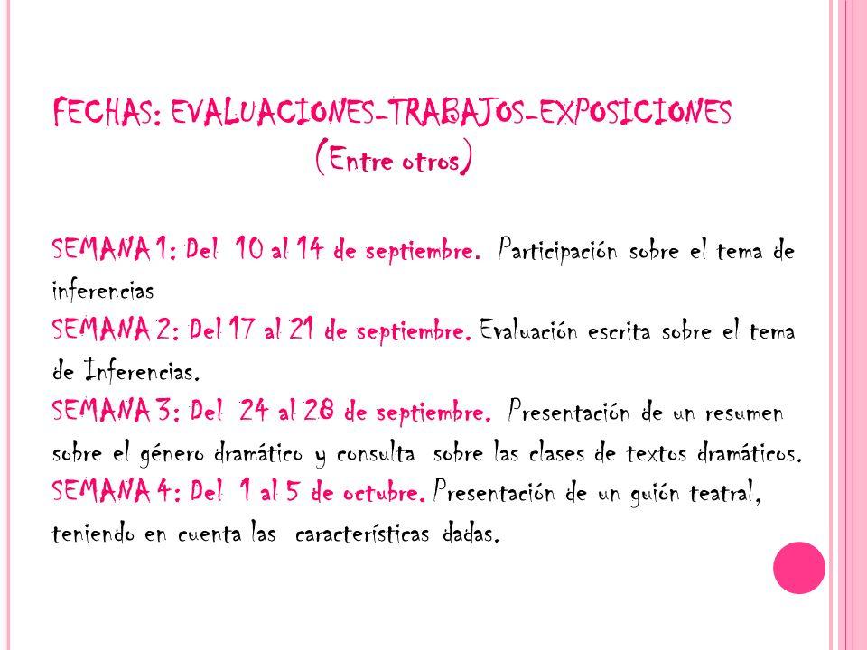 FECHAS: EVALUACIONES-TRABAJOS-EXPOSICIONES (Entre otros) SEMANA 1: Del 10 al 14 de septiembre. Participación sobre el tema de inferencias SEMANA 2: De