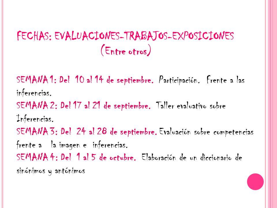 FECHAS: EVALUACIONES-TRABAJOS-EXPOSICIONES (Entre otros) SEMANA 1: Del 10 al 14 de septiembre. Participación. Frente a las inferencias. SEMANA 2: Del