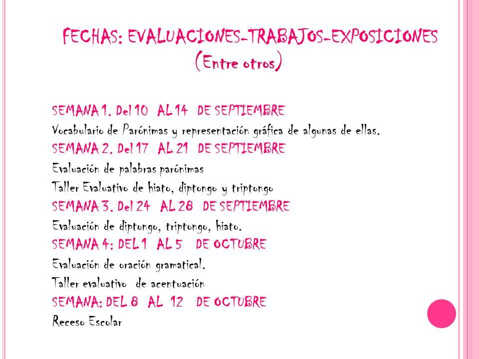 FECHAS: EVALUACIONES-TRABAJOS-EXPOSICIONES (Entre otros) SEMANA 1. Del 10 AL 14 DE SEPTIEMBRE Vocabulario de Parónimas y representación gráfica de alg