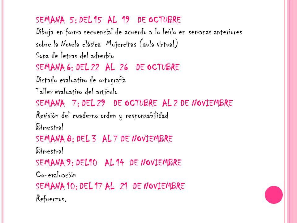 SEMANA 5: DEL 15 AL 19 DE OCTUBRE Dibuja en forma secuencial de acuerdo a lo leído en semanas anteriores sobre la Novela clásica Mujercitas (aula virt