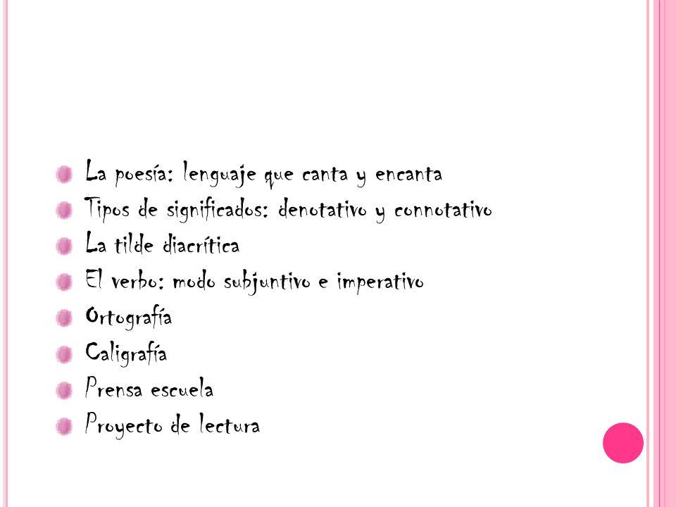 La poesía: lenguaje que canta y encanta Tipos de significados: denotativo y connotativo La tilde diacrítica El verbo: modo subjuntivo e imperativo Ort
