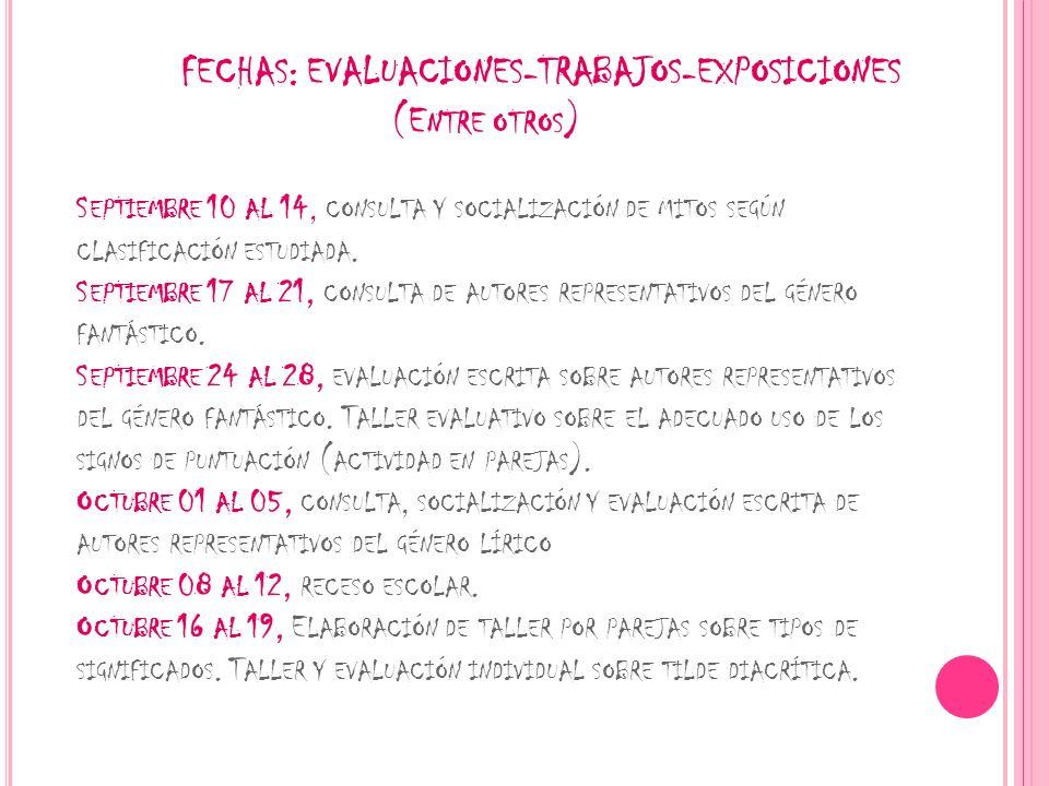 FECHAS: EVALUACIONES-TRABAJOS-EXPOSICIONES (E NTRE OTROS ) S EPTIEMBRE 10 AL 14, CONSULTA Y SOCIALIZACIÓN DE MITOS SEGÚN CLASIFICACIÓN ESTUDIADA. S EP