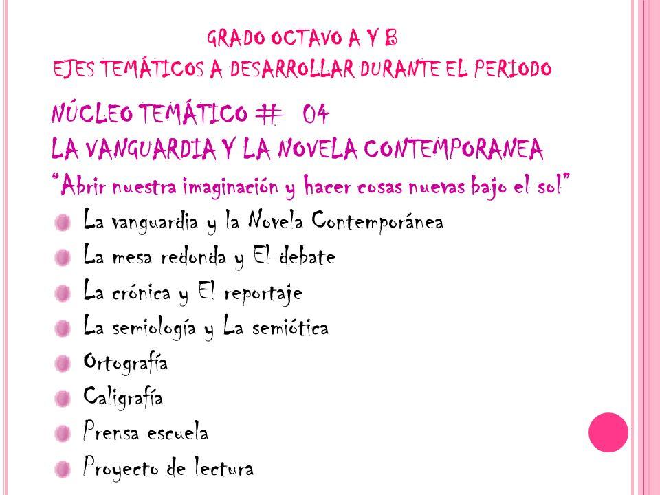 GRADO OCTAVO A Y B EJES TEMÁTICOS A DESARROLLAR DURANTE EL PERIODO NÚCLEO TEMÁTICO # 04 LA VANGUARDIA Y LA NOVELA CONTEMPORANEA Abrir nuestra imaginac