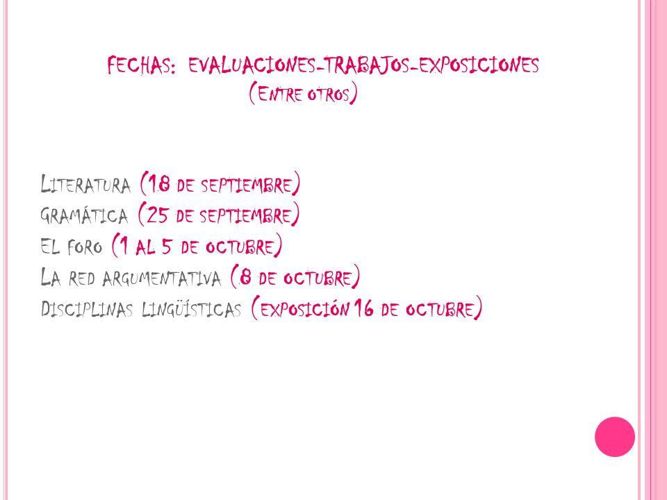 FECHAS: EVALUACIONES-TRABAJOS-EXPOSICIONES (E NTRE OTROS ) L ITERATURA (18 DE SEPTIEMBRE ) G RAMÁTICA (25 DE SEPTIEMBRE ) E L FORO (1 AL 5 DE OCTUBRE