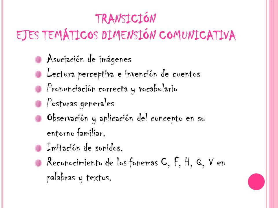 TRANSICIÓN EJES TEMÁTICOS DIMENSIÓN COMUNICATIVA Asociación de imágenes Lectura perceptiva e invención de cuentos Pronunciación correcta y vocabulario