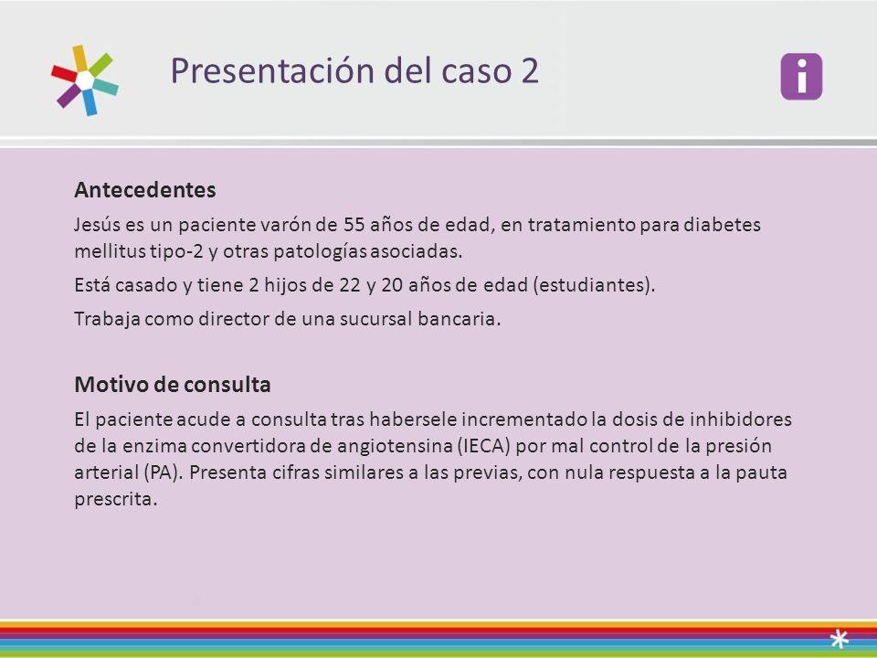 Presentación del caso 2 Antecedentes Jesús es un paciente varón de 55 años de edad, en tratamiento para diabetes mellitus tipo-2 y otras patologías asociadas.