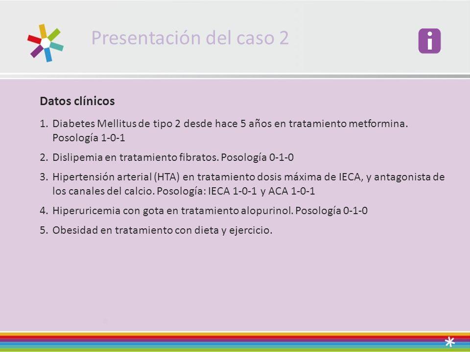 Presentación del caso 2 Datos clínicos 1.Diabetes Mellitus de tipo 2 desde hace 5 años en tratamiento metformina.