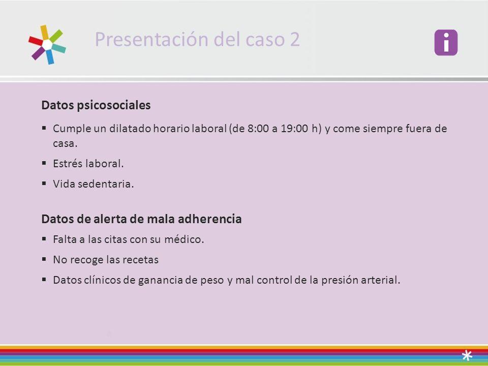 Presentación del caso 2 Datos psicosociales Cumple un dilatado horario laboral (de 8:00 a 19:00 h) y come siempre fuera de casa.