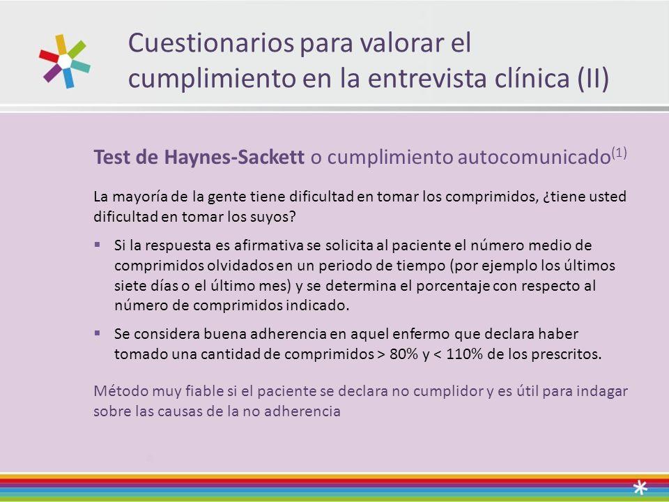Cuestionarios para valorar el cumplimiento en la entrevista clínica (II) Test de Haynes-Sackett o cumplimiento autocomunicado (1) La mayoría de la gente tiene dificultad en tomar los comprimidos, ¿tiene usted dificultad en tomar los suyos.