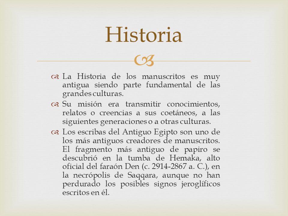 La Historia de los manuscritos es muy antigua siendo parte fundamental de las grandes culturas. Su misión era transmitir conocimientos, relatos o cree